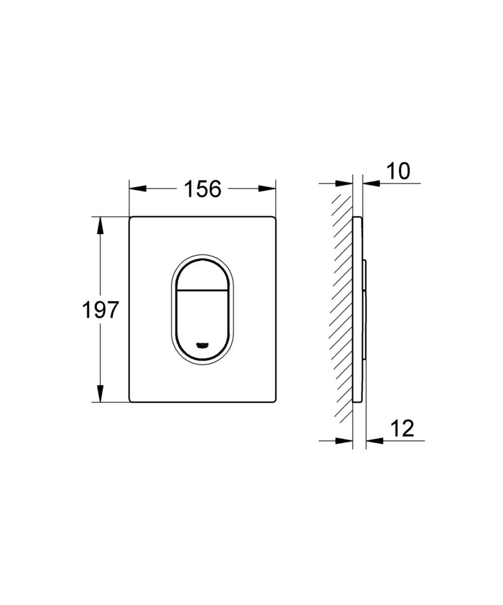 Plaque de commande WC ARENA, double touche interrompable, pour mécanisme pneumatique, montage vertical, 156 x 197 mm, en ABS, chromé mat Réf