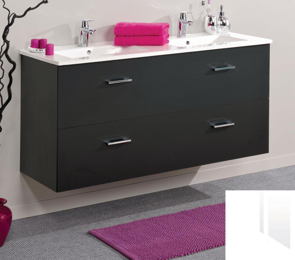 meuble sous-vasque h600mm 2 coulissants à fermeture freinée tiroir