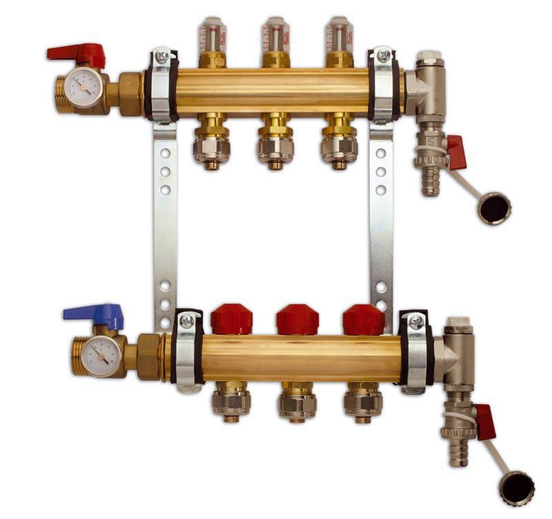 Collecteur prémonté plancher chauffant avec débimètre HX-D 7 circuits 26 x 34 et vannes et thermomètres réf. 1409030507
