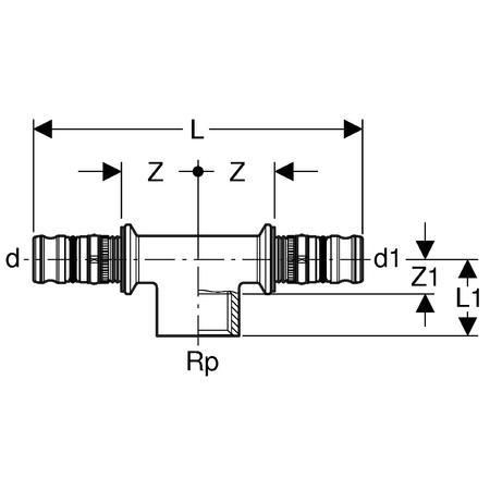 Té mixte D63-15x21-63 Réf 607.360.00.5