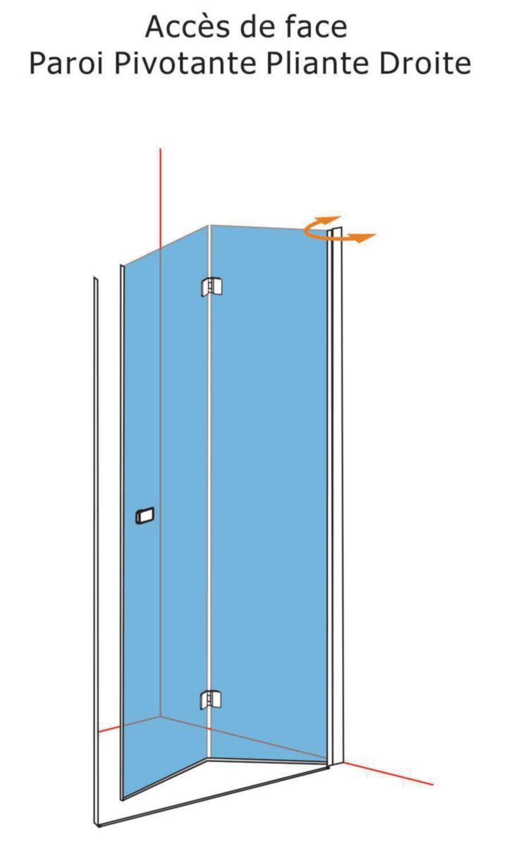 Alterna paroi de douche domino pivotante pliante c t droit l 100 x h 200 cm verre - Paroi de douche 100 ...