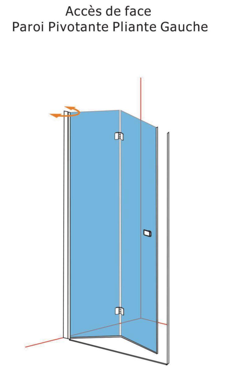 Alterna paroi de douche domino pivotante pliante c t gauche l 100 x h 200 cm verre - Paroi de douche 100 ...
