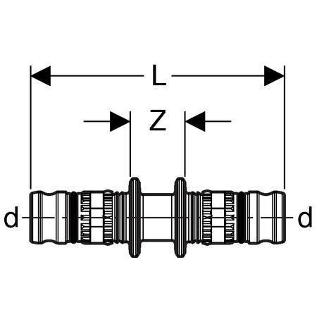 Jonction 2 tubes D16 Réf 621.505.00.5