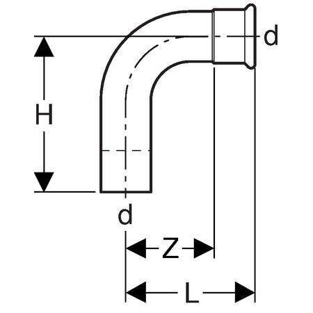 Coude 90 degrés D76,1mm avec extrémité à emboîter acier réf 20309