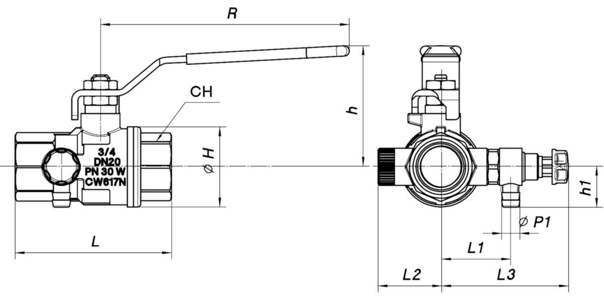 Robinet à tournant sphérique à purge. passage intégral. poignée aluminium rouge. ALTECH 301 Laiton nickelé FF DN 11/4