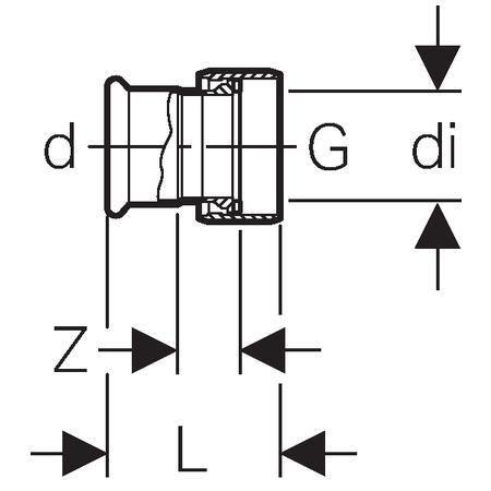 Jonction avec écrou nickelé D15-1/2mm, acier carbone Réf 25042