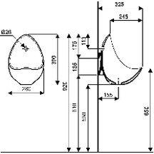 urinoir aubagne 2 ovo de 43 x 28 blanc petit mod le avec bonde et jeu de fixations r f. Black Bedroom Furniture Sets. Home Design Ideas