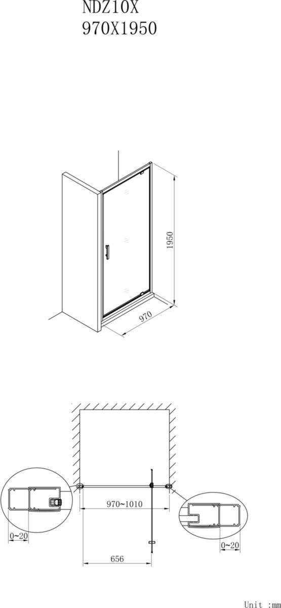Alterna paroi de douche concerto acc s de face porte pivotante l 100 x h 195 cm profil argent - Paroi de douche 100 ...