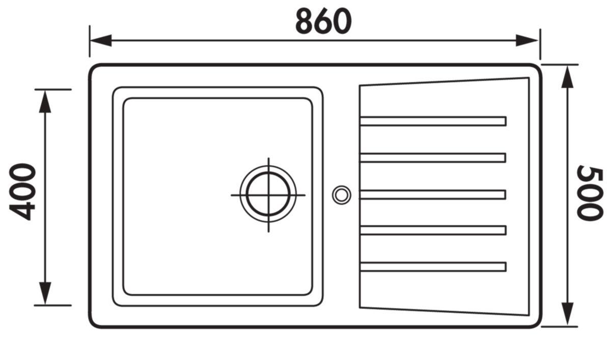 Evier NATURE Primeo 2 86 x 50cm 1 cuve 1 égouttoir bonde D90mm réversible blanc