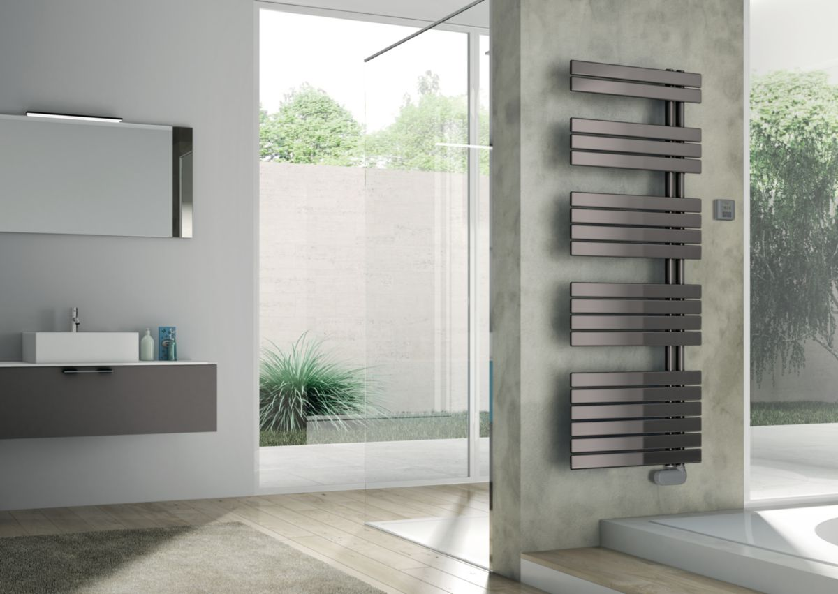 radiateur s che serviettes lectrique concerto asym trique 1418 x 550 mm gris 750 w alterna. Black Bedroom Furniture Sets. Home Design Ideas