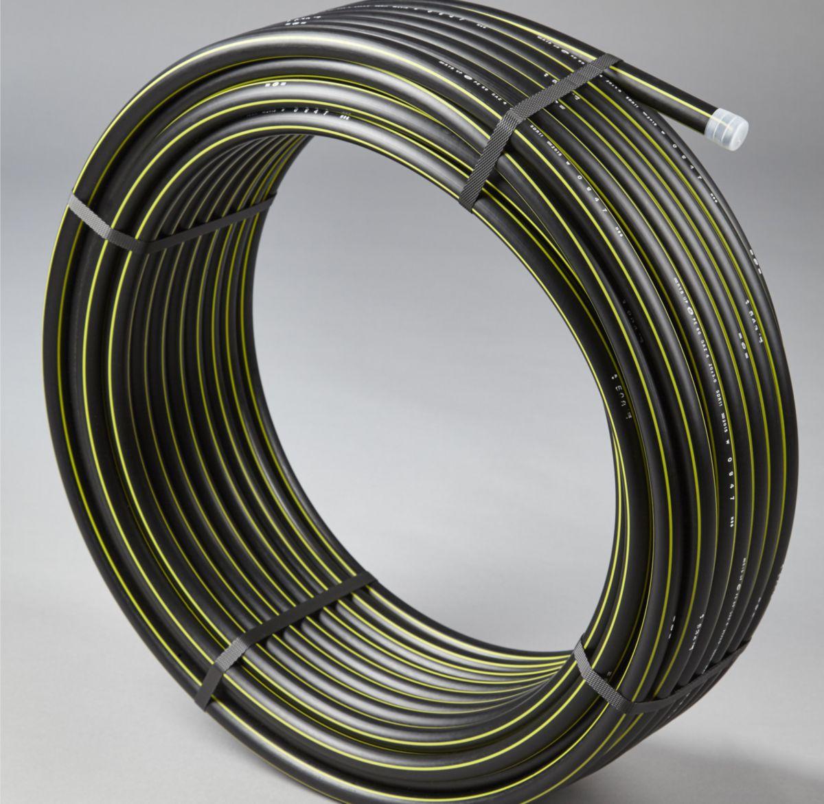 Tuyau en PEHD pour gaz norme Française Groupe 1 diamètre 40mm couronne de _50m réf. GAZ8010064C