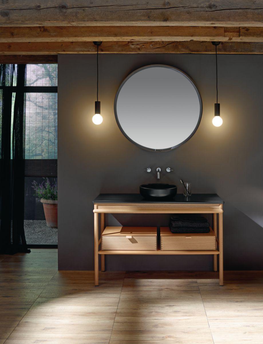 burgbad vasque poser en c ramique mya l 1200 avec meuble sous vasque dont 2 tiroir 1. Black Bedroom Furniture Sets. Home Design Ideas