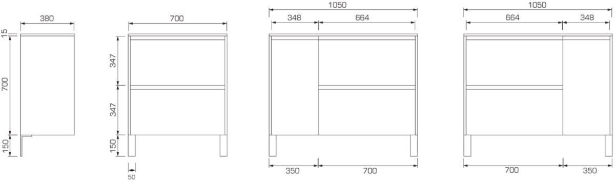 Meuble sous-vasque PLENITUDE 105 cm 2 tiroirs 1 porte pour vasque droit profondeur 38 cm Anthracite, poignée titane
