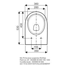 pack wc suspendu prima rimfree abattant frein de chute blanc r f 08398800000100 allia. Black Bedroom Furniture Sets. Home Design Ideas