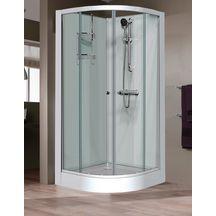 cabine de douche iziglass quart de rond 90cm portes coulissantes profil blanc verre. Black Bedroom Furniture Sets. Home Design Ideas