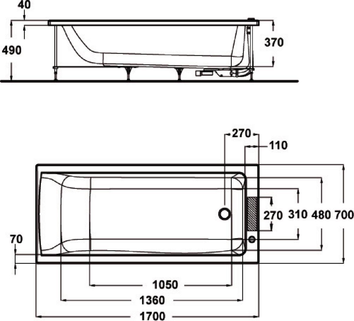IDEAL STANDARD - Baignoire CONNECT 170x70cm en acrylique à ...