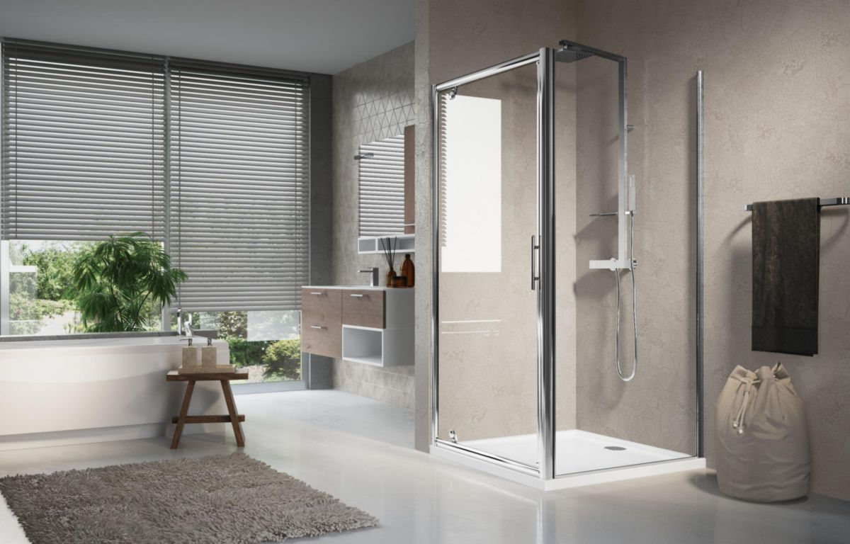 Novellini paroi de douche lunes f 96 cm extensible jusqu - Poser une paroi de douche fixe ...