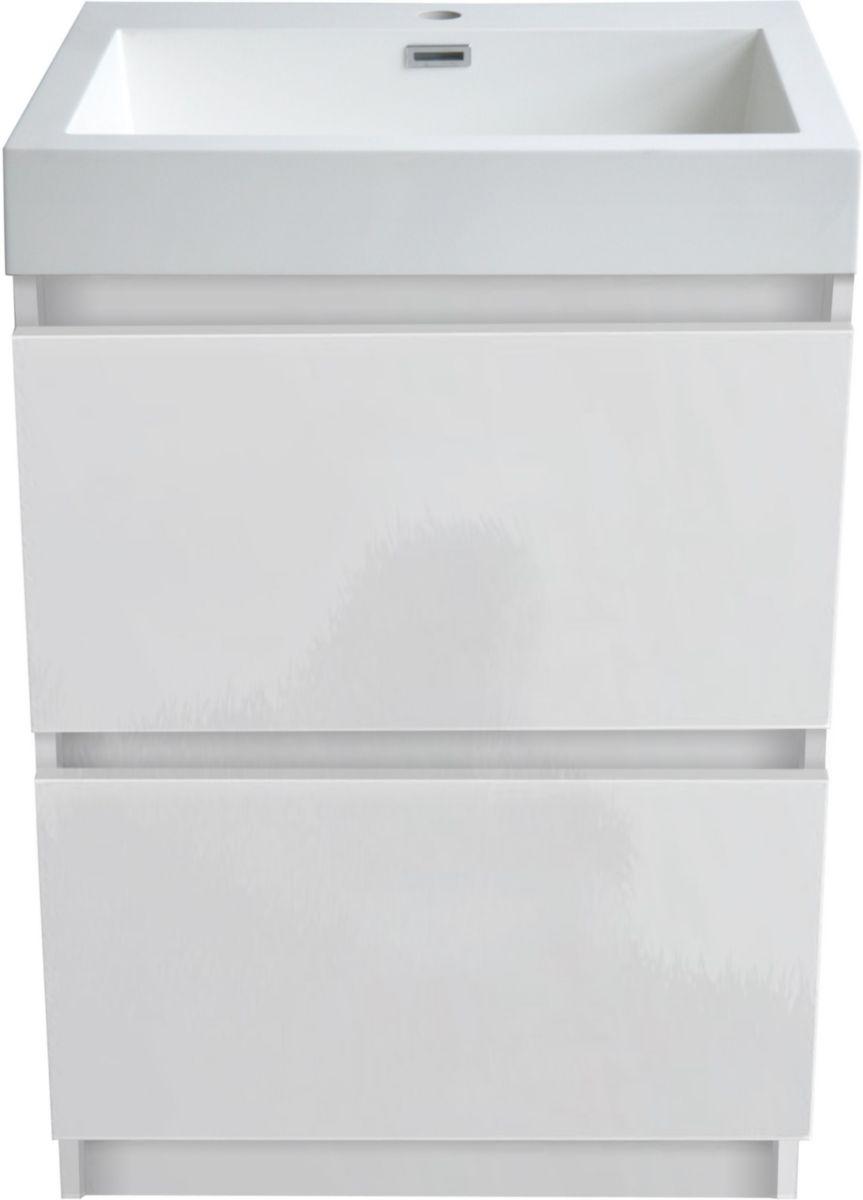 Meuble Primeo 60 cm au sol 2 tiroirs blanc ALTERNA Sanitaire