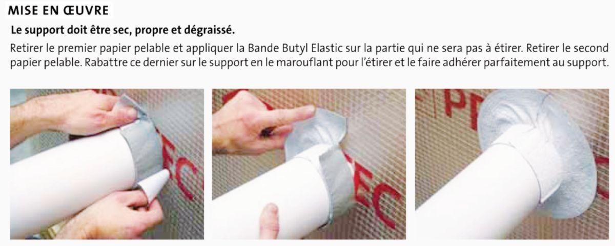 Bande Butyl Elastic d'étanchéité à l'air 100mm x 10m linéaire réf 821902
