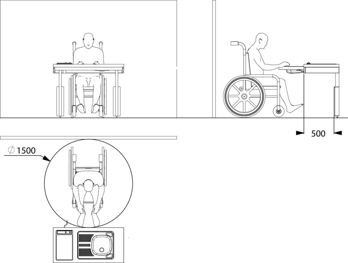 Hauteur Plan De Travail ensemble cuisinette pmr, cadre ''flexikit'' à hauteur variable permettant  de descendre et monter le plan de travail sur 30 cm avec une maniv
