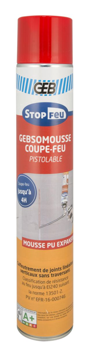 Mousse polyuréthane coupe feu GEBSOMOUSSE pistolable AE 750ml Réf. 813271