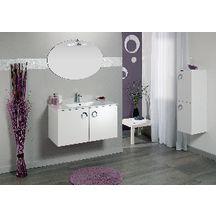 Meuble sous-vasque SEDUCTA 90 cm, 2 portes, blanc brillant ...