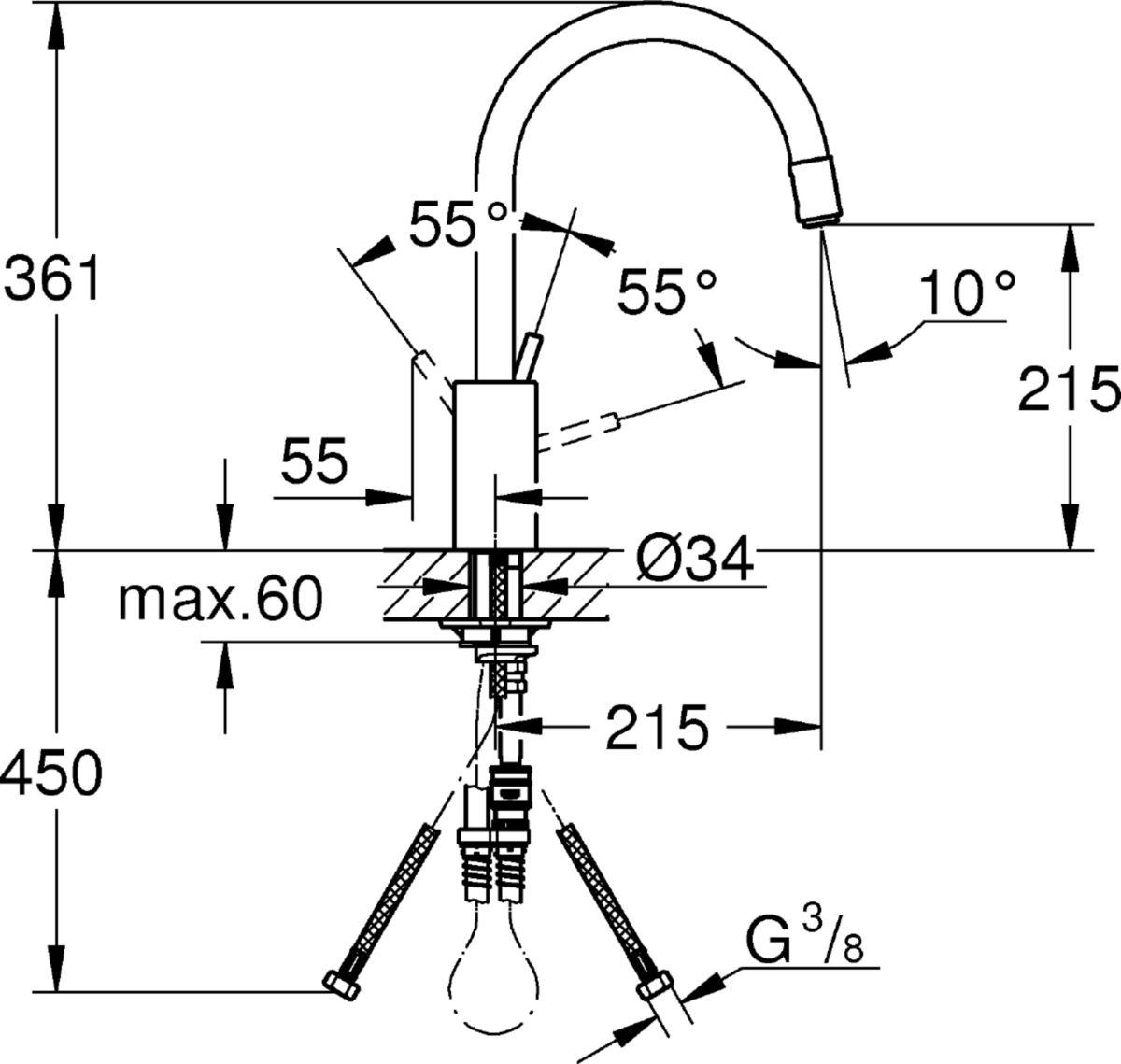 Mitigeur évier CONCETTO II, monocommande, bec haut orientable, chromé réf. 32663001
