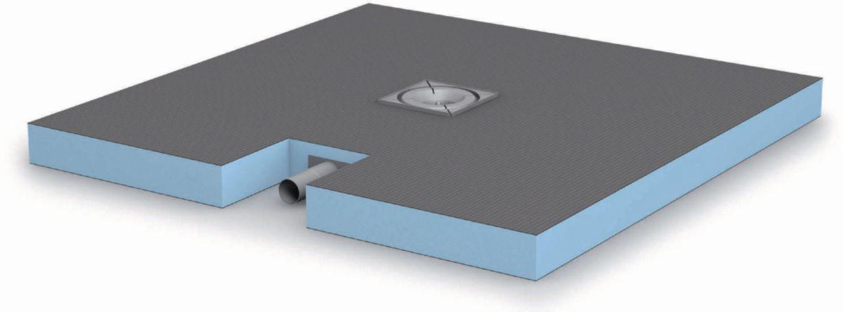receveur de douche de plain pied coulement centr carreler wedi fundo plano 900x900 mm. Black Bedroom Furniture Sets. Home Design Ideas