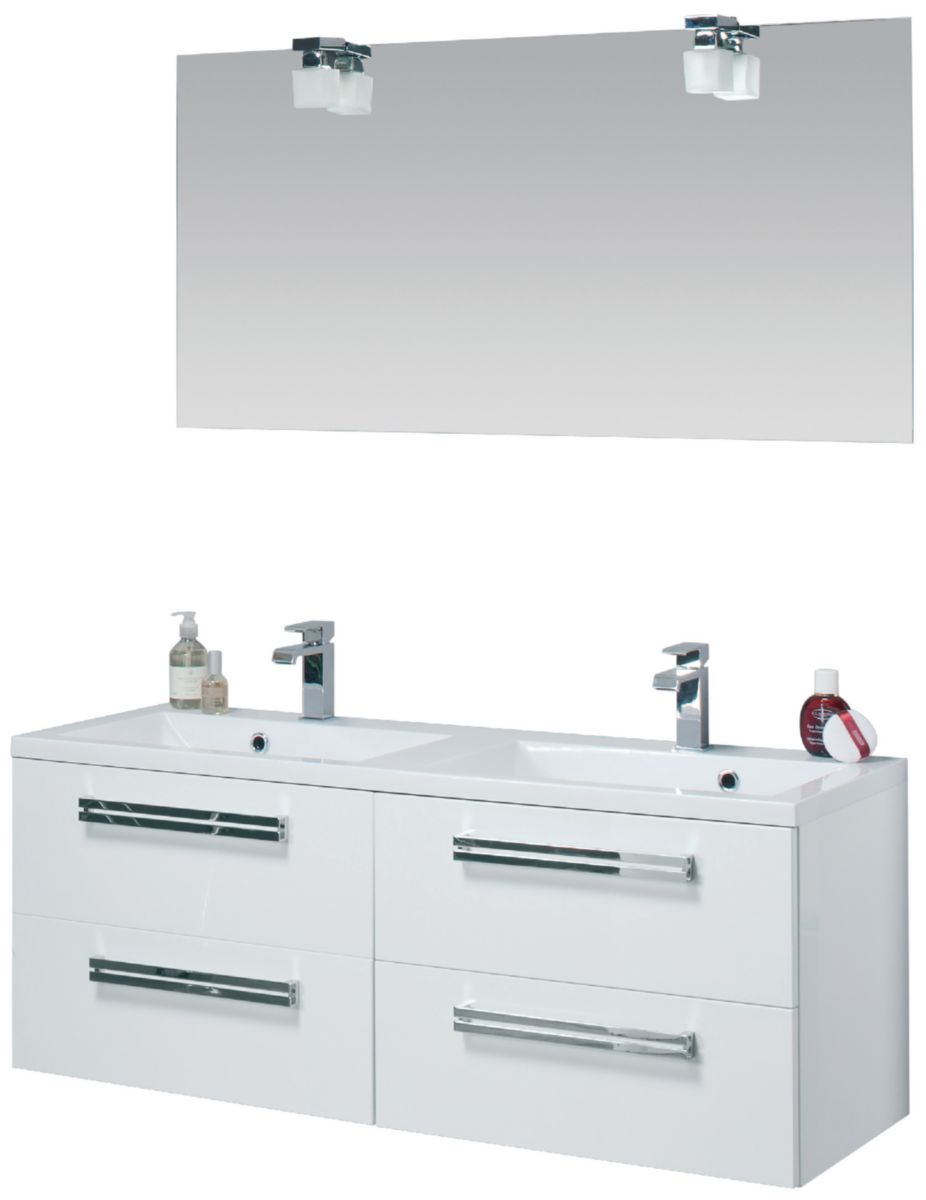 Meuble sous-vasque SEDUCTA 120 cm, 4 tiroirs, blanc brillant - ALTERNA