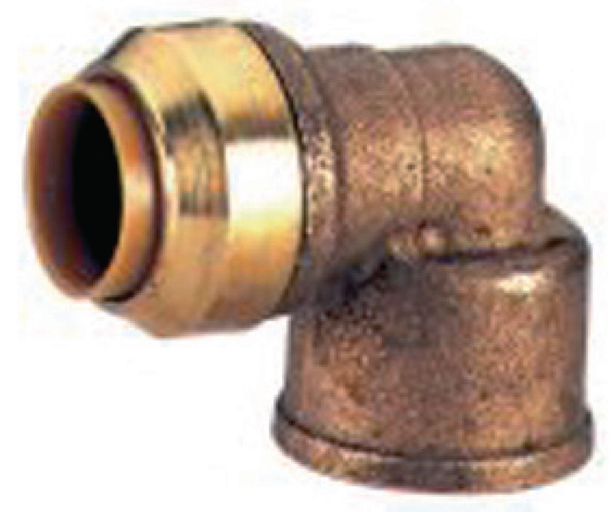 Coude 90° T090G instantané tectite femelle-femelle D12-15x21 pour tube cuivre PER et PB réf T090G1212