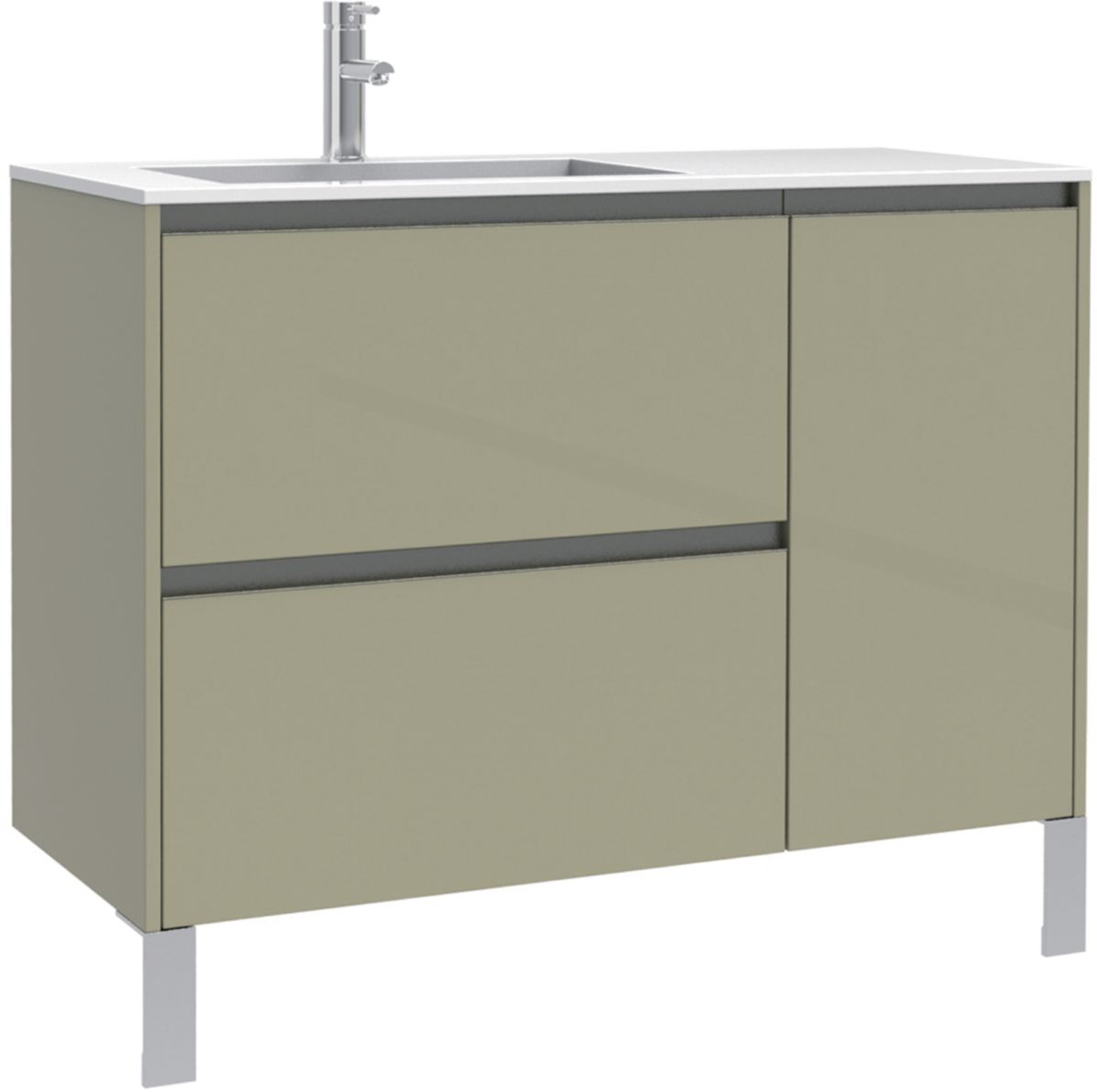 vasque et meuble Meuble sous vasque Plenitude 105 cm 2 tiroirs 1 porte pour vasque D P38  blanc bois ...
