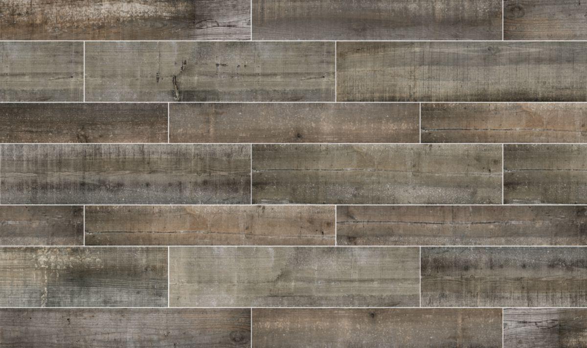 Carrelage sol intérieur grès cérame Imagine Vintage graphite - 24x99 cm