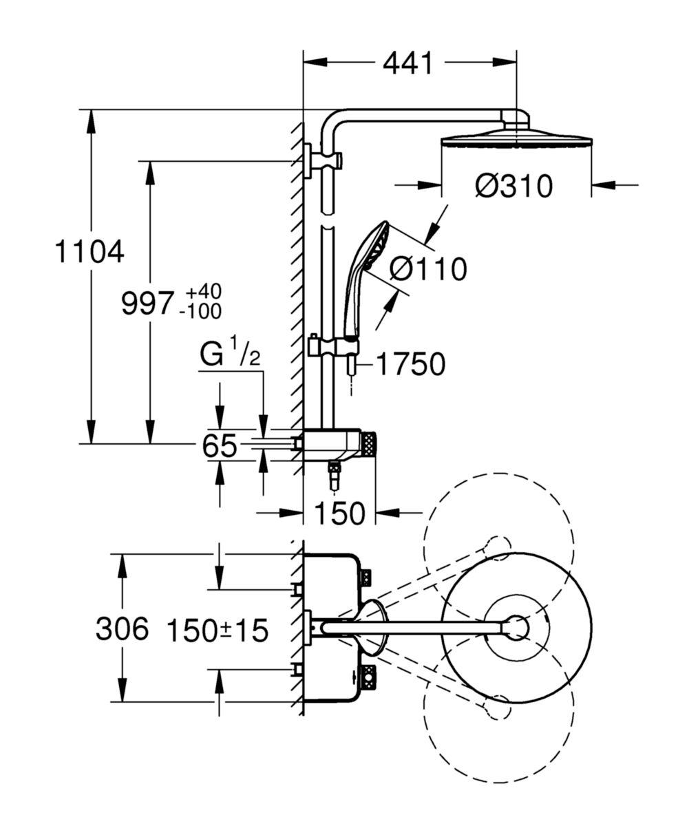 Euph Smartcontrol 310 système de douche thm Réf. 26507000