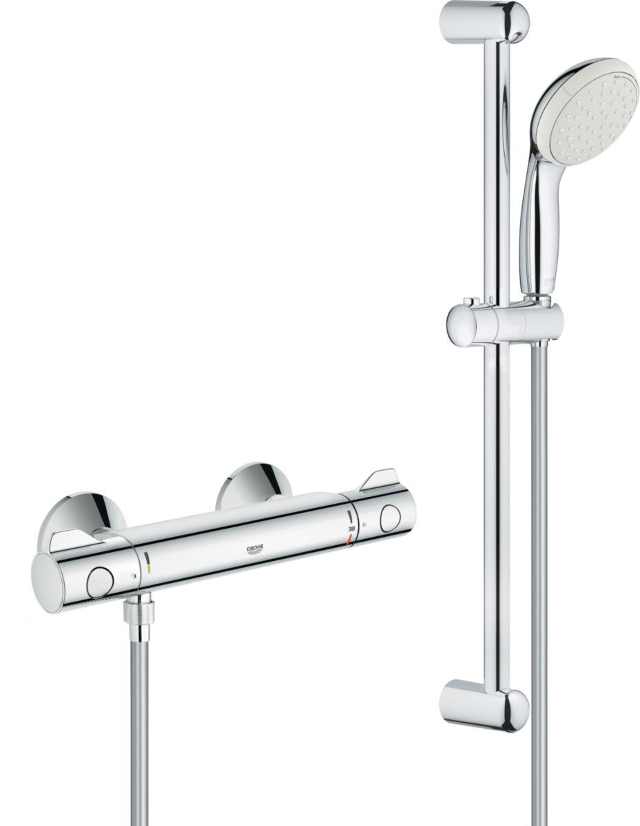 Mitigeur thermostatique douche 1/2'' avec ensemble de douche GRT 800 THM réf. 34565001