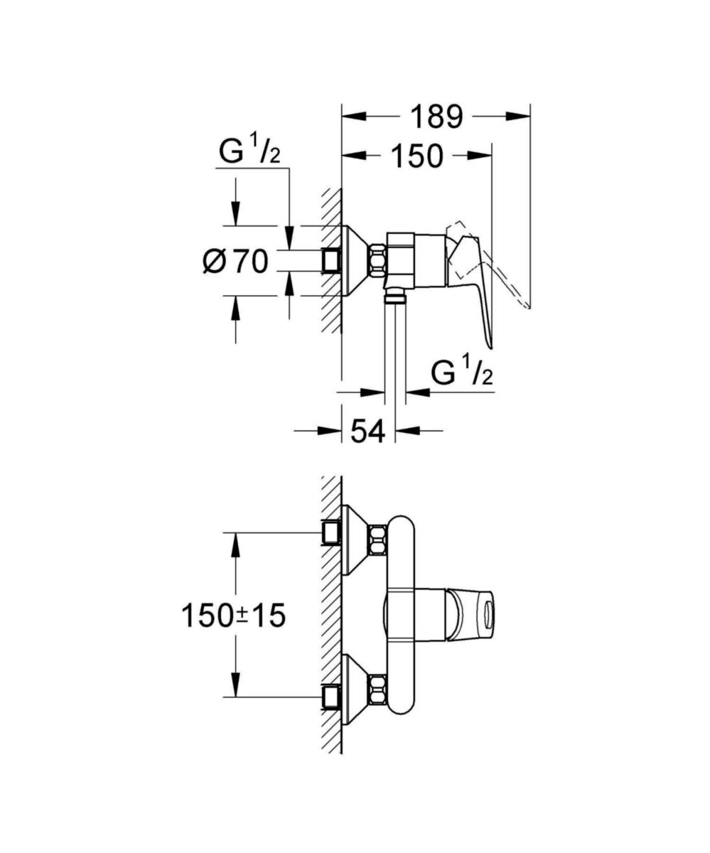 Mitigeur de douche BAULOOP Entraxe de 150 mm Chromé réf. 23340000