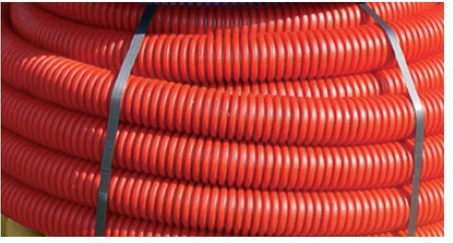 Gaine Hekaplast TPC en PEHD à double paroi annelée/lisse rouge DN_75mm couronne de 50m