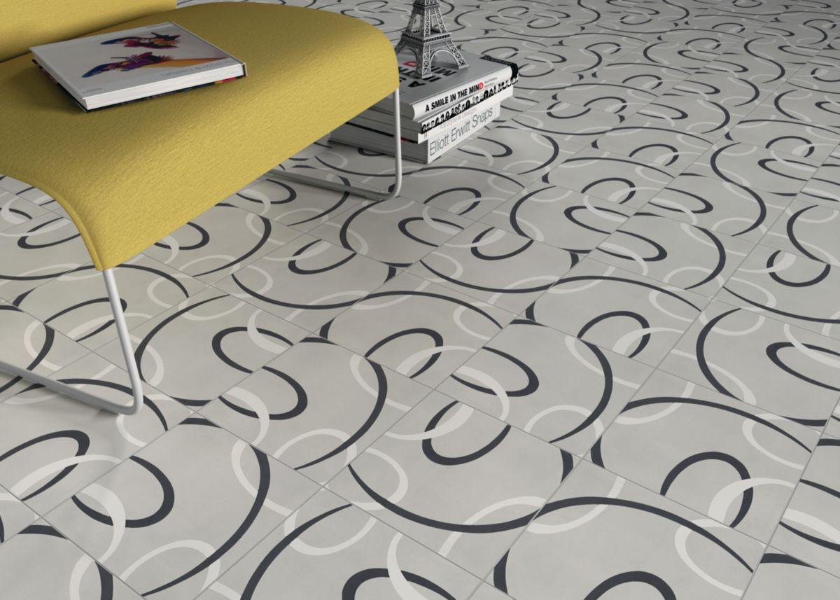 Carreau de ciment CIMI42 - décor moderne - gris clair/blanc/noir - 20x20 cm - ép. 1,6 cm