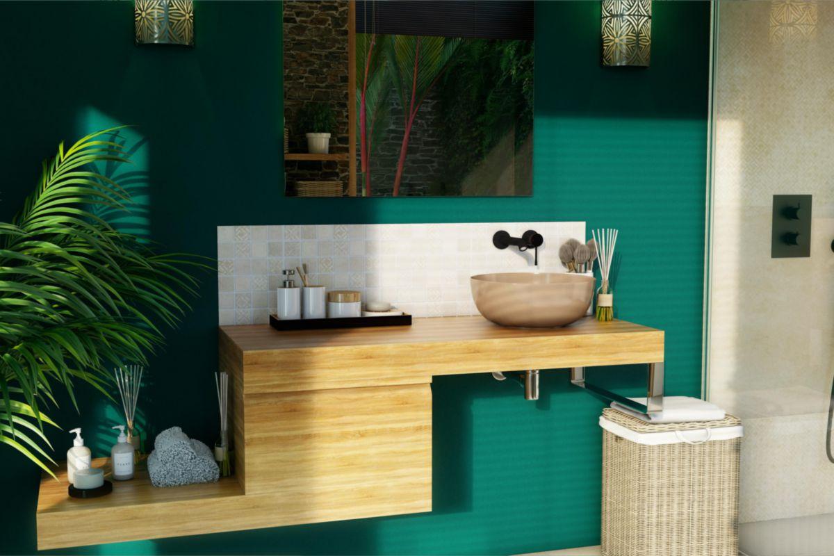Plan De Toilette Hydrofuge plan de toilette zao bois épais 9cm chêne massif naturel 120 cm