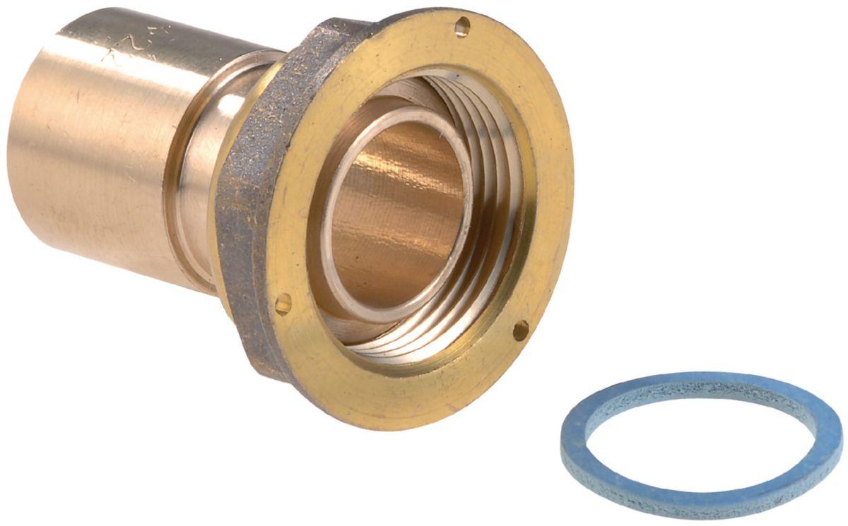 Raccord droit 2 pièces RC-2P-JPC-CU à joint plat compteur à braser sur tube cuivre D28 calibre 20 Réf CD02036