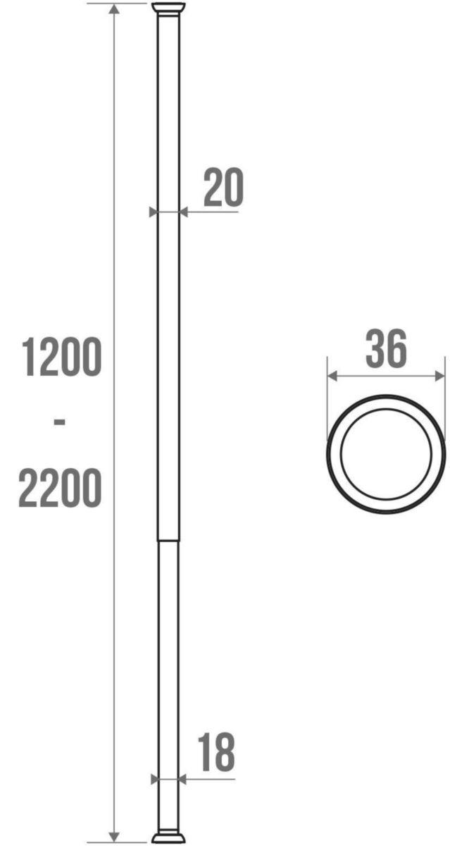 Porte-rideau droit extensible tube aluminium poli embouts caoutchouc réf. 004052