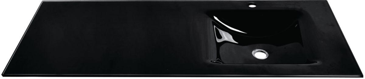 Plan SEDUCTA 121 cm, vasque simple décentrée à droite, sans trop-plein, noir