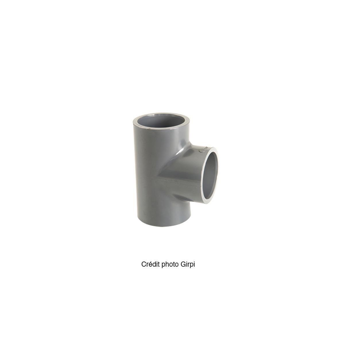 Té simple 90° femelle pression à coller PVC-U d50 BTE50