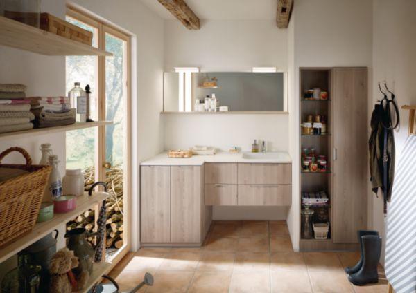 Meuble salle de bain pour machine à laver SANA chêne décor flanelle
