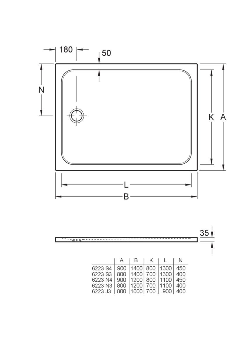 Receveur Lifetime Plus rectangulaire 100 x 80 Réf. 6223J301