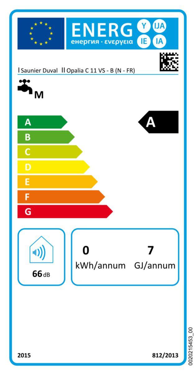 Chauffe-bains Opalia C 11 VS au gaz naturel - Classe énergétique A réf. 0010014262