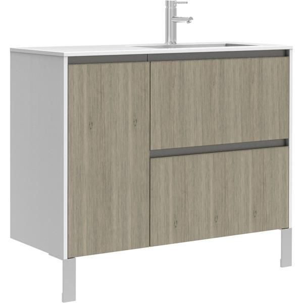 Meuble sous-vasque PLENITUDE 105 cm 2 tiroirs 1 porte pour vasque gauche profondeur 50 cm Argile, poignée noire