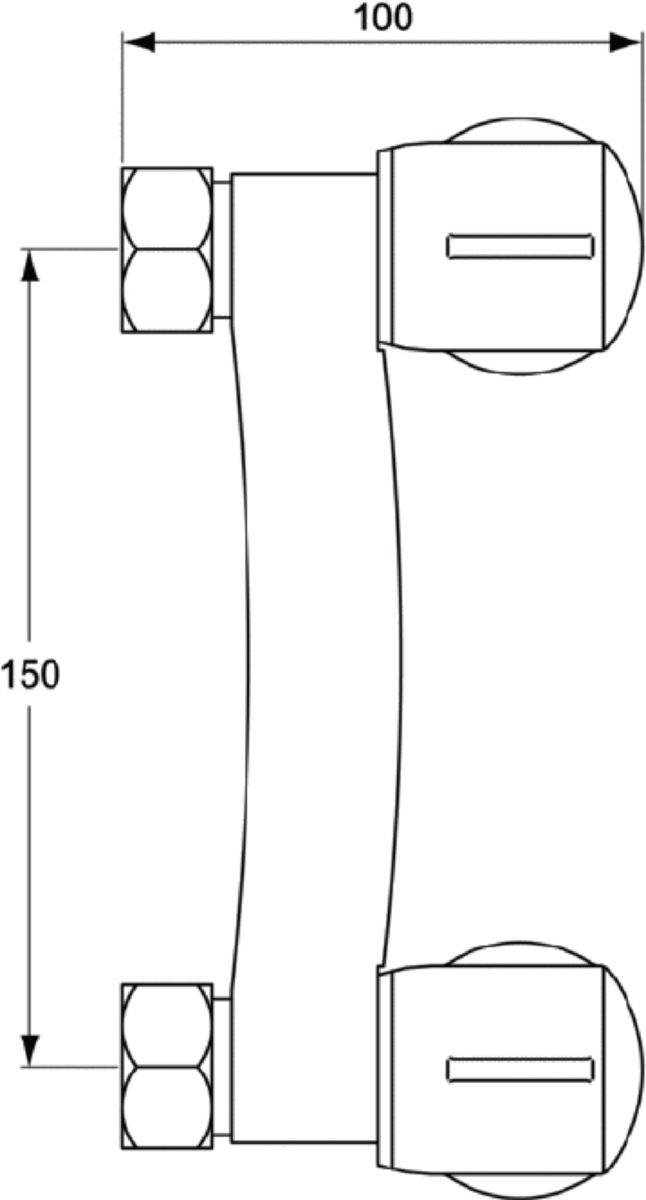 Mélangeur de douche mural ULYSSE C sans raccord ni rosace, têtes 15 x 21 à disques céramique, chromé réf. D1752AA