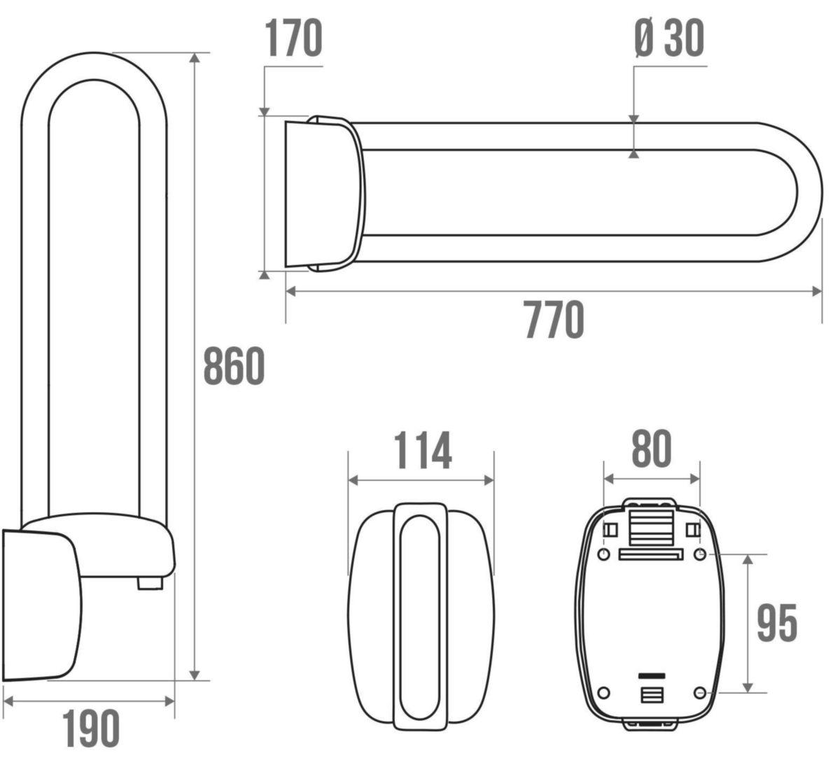 Barre d'appui relevable longueur de 80cm réf 048880
