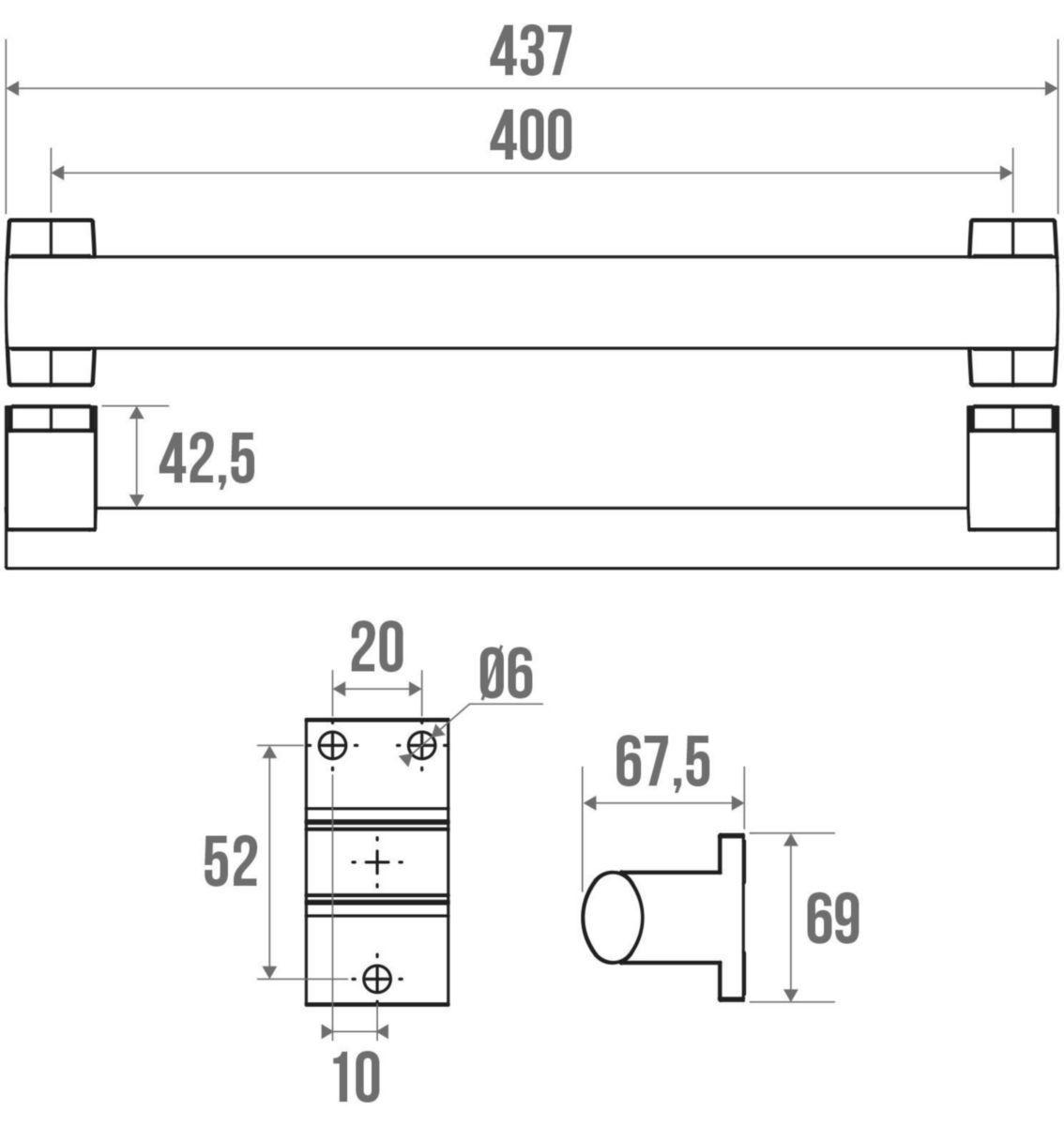 Barre d'appui droite ARSIS 400mm réf 049940