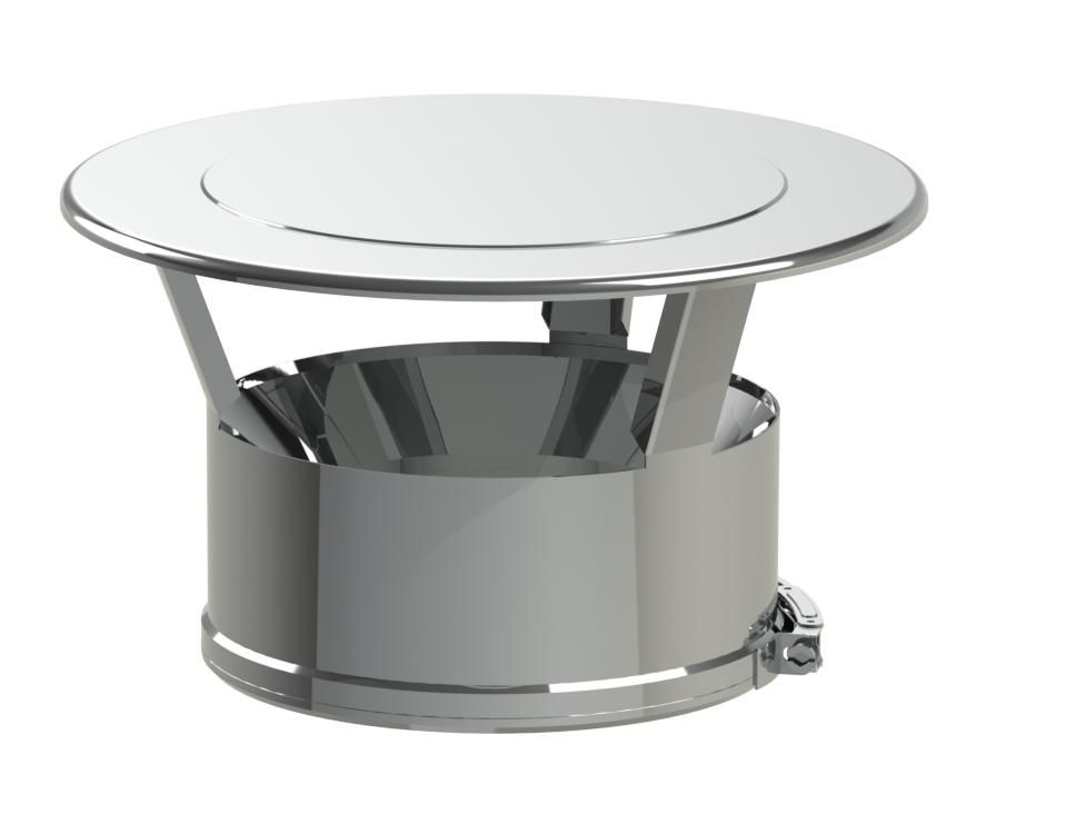 Chapeau plat inox Duoten 200 - 250 + bride réf. 594208